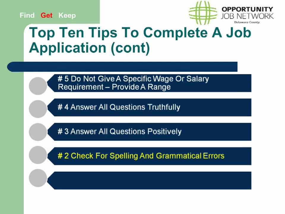 filling out a job application tips