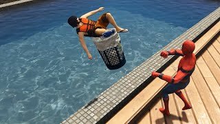 GTA 5 Water Ragdolls | SPIDERMAN Jumps/Fails #21 (Euphoria physics | Funny Moments)
