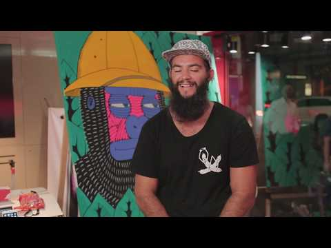Painting at Virgin Mobile store – Extended version | Mulga the Artist