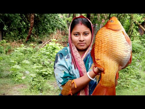 Amazing Beautyful Gold Fish Cutting & Cooking Masala Fish Curry Recipe With Slice Potato In Village
