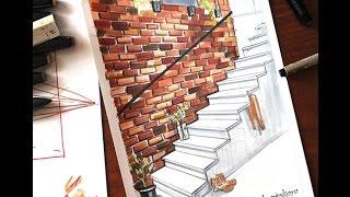 Интерьерный скетч маркерами. Лестница и кирпичная кладка. a sketch of the staircase(Это предварительный обзор видео-урока по построению лестницы и отработке текстуры кирпича. Этот урок будет..., 2015-12-11T14:45:24.000Z)