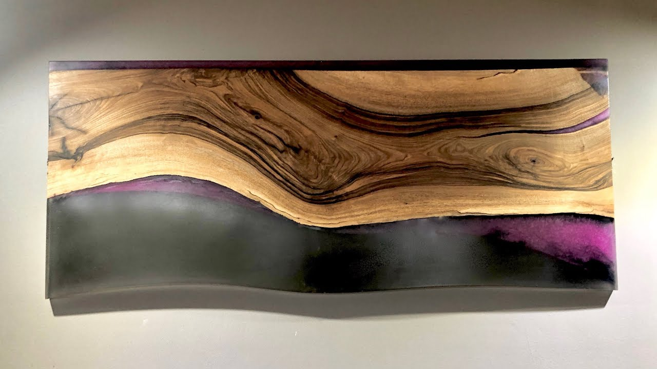 Epoxy Resin Wall Art Pink Black Walnut Wall Hanging