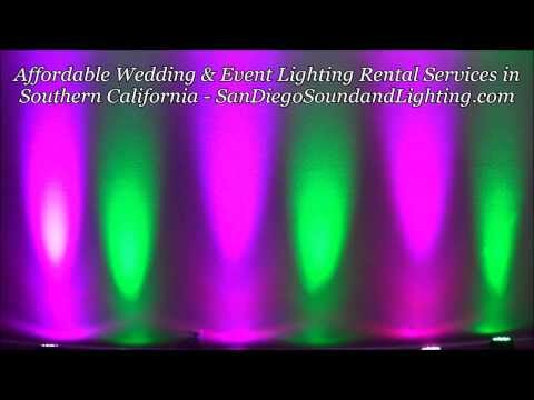 Green & Purple Up Lights Demo, Chula Vista Event Lighting Rental, Wedding Decoration Ideas
