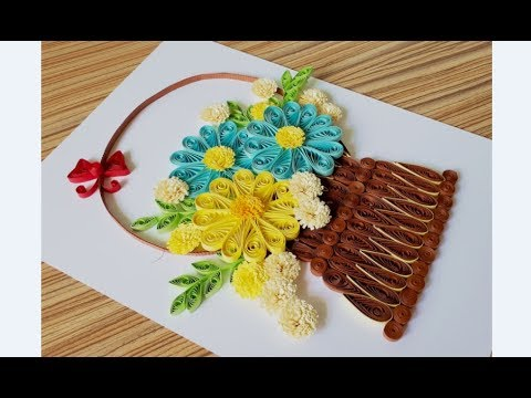 DIY Paper quilling Flower Card Design 35 // Quilling card