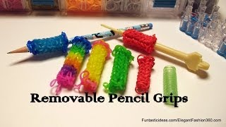 "Rainbow Loom ""Removable"" Pencil/Crochet Hook Grip - How to Tutorial"