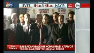 Recep Tayyip erdoğan Referandum Da Evet Kazandi Başbakan Binali Balkon Tümünü izle-16.4.2017