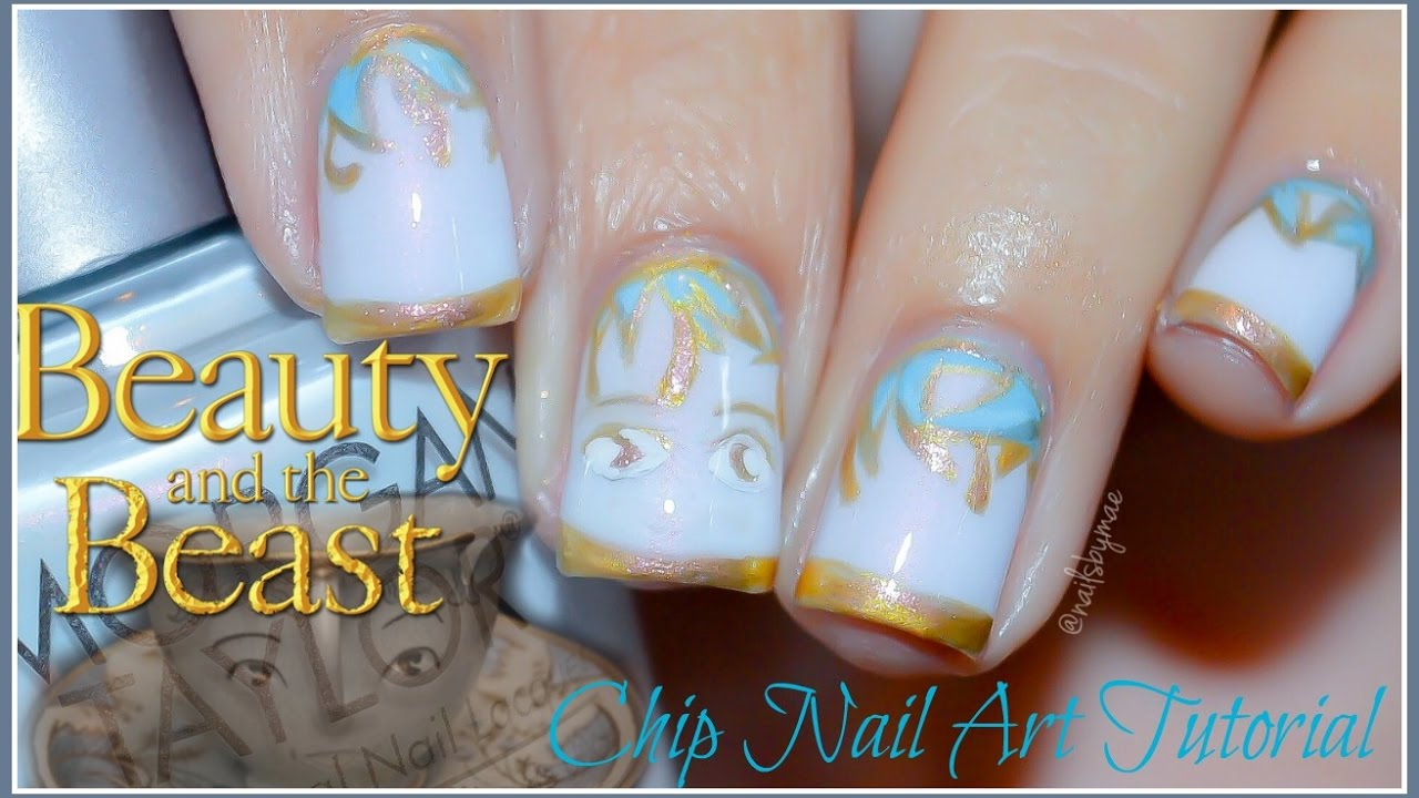 Beauty And The Beast Chip Nail Art Tutorial