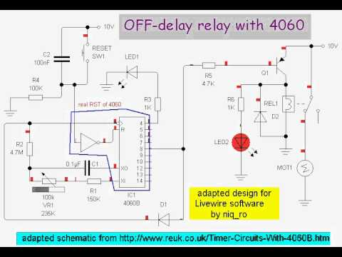 Offdelay Relay With 4060 YouTube - On Off Relay Timer Circuit
