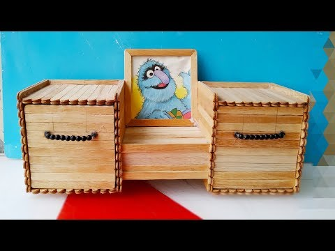 How to make a jewelry Box  / diy / Popsicle sticks Crafts کاردستى, با چوب ايسکريم