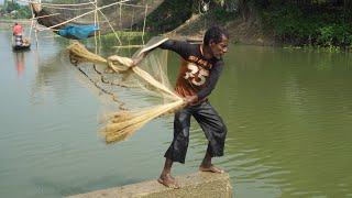 Best Net Fishing | Catching Fish Using Cast Net | Fishing With Beautiful Nature (Part-101)