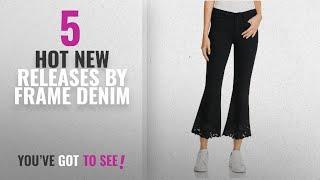 Hot New Frame Denim Women Clothing [2018]: Frame Denim Womens Crop Scalloped Flare Jeans Black 30