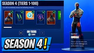 SEASON 4 Unlocking All 100 Tiers! ( Battle Pass Rewards in Fortnite )