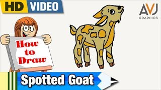 How to draw and color a Spotted Goat_Lesson 97_Learn and draw_simple and easy_Kids Drawing