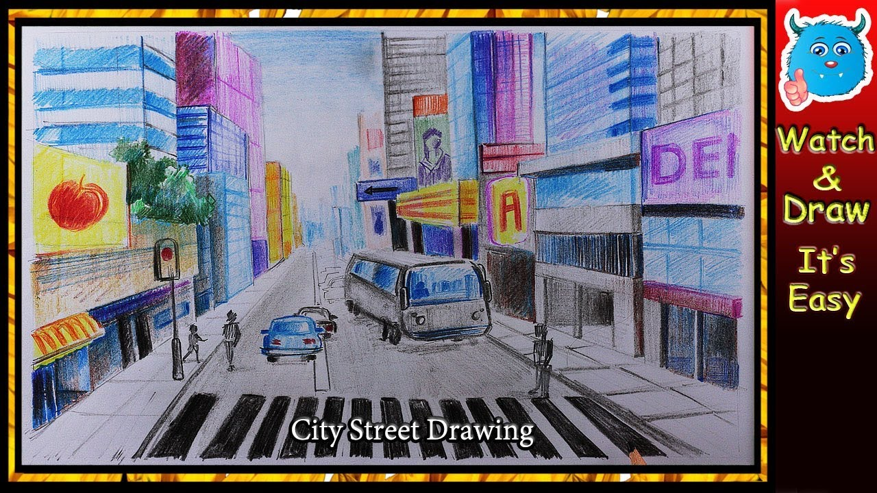 How To Draw A City Street Scene With Traffic Safety Drawing Easy For
