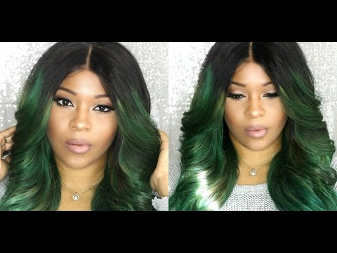 BOMB Pre Plucked Natural Looking Lace wig Dyed Green | Everbeautyonline