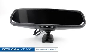 "BOYO Vision VTW43M 4.3/"" Rear View Car Mirror Monitor w// Built-In WiFi Miracast"