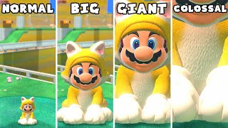 Super Mario 3D World - Mini vs Small vs Big vs Giant vs Giga vs Colossal Mario