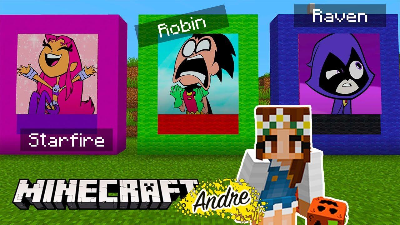 Minecraft Andre   Jovenes Titanes no abras el lucky block incorrecto con Starfire, Robin y Raven