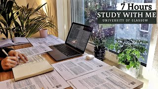 7 HOUR STUDY WITH ME   Background noise, Rain Sounds, 10-min break, No Music - classical music with rain background