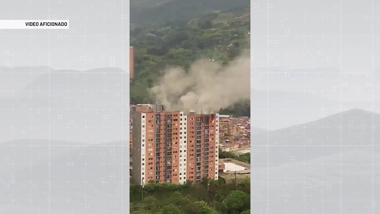 Incendio en edifcio en Itagüí