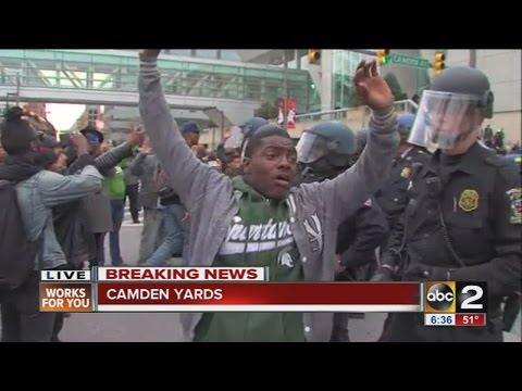Freddie Gray protesters clash with Baltimore Police at Camden Yards
