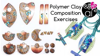 Polymer Clay Composition Exercises | T-Bar Necklace & Demiround Earrings