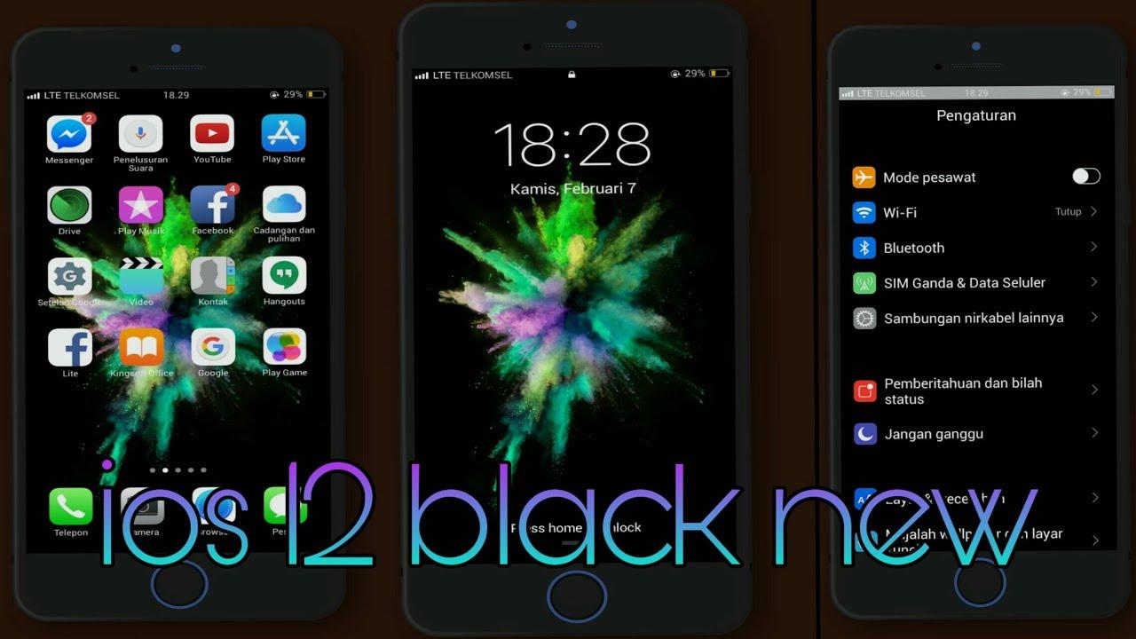Ios 12 black version for oppo theme