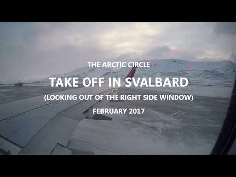 TAKING OFF IN THE ARCTIC Flying from Longyearbyen Svalbard Norway to Oslo February 2017