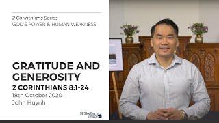 Gratitude and Generosity (2 Corinthians 8:1-24) - 18 October 2020