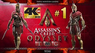 ASSASSIN'S CREED ODYSSEY [4K@60fps] walkthrough part 1(main story only) |Triple monitor gameplay