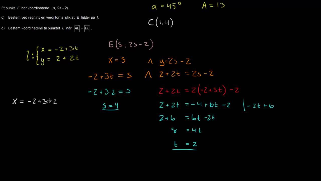 R1 eksamen, høst 2013, Del 2 - 6c) Parameterfremstilling og Geogebra