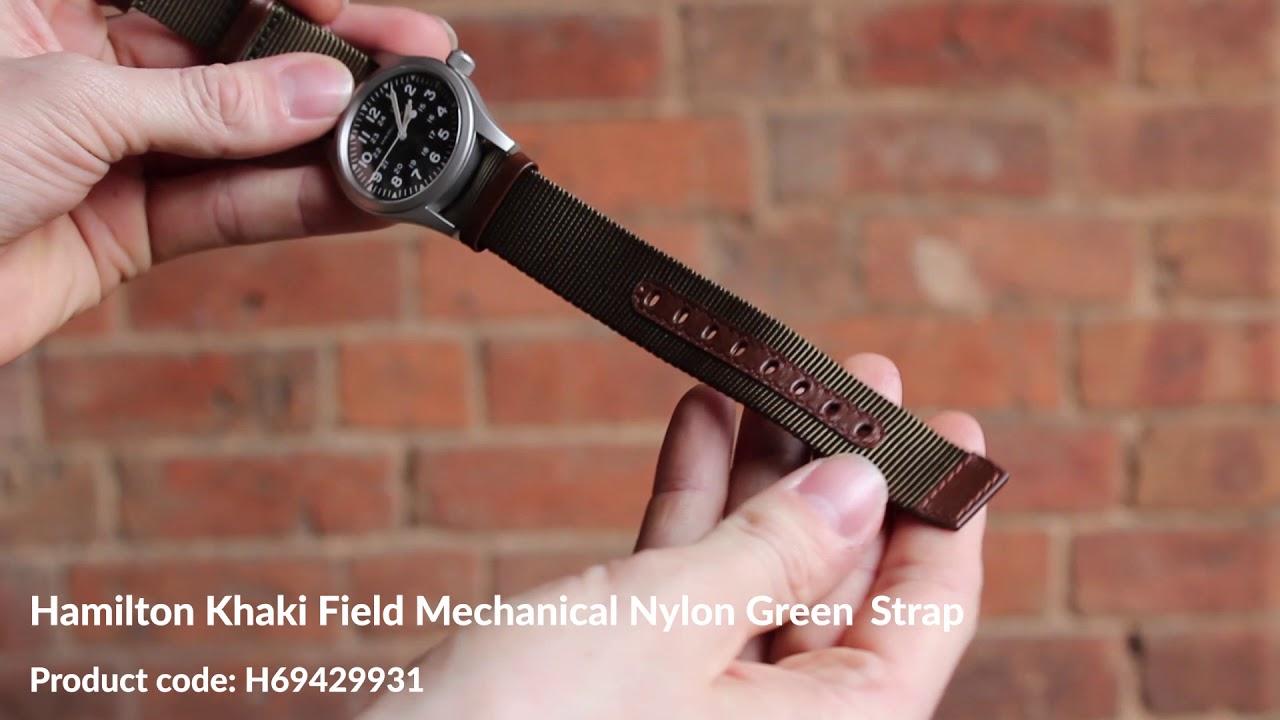 Hamilton Khaki Field Mechanical Nylon Green Strap H69429931 First
