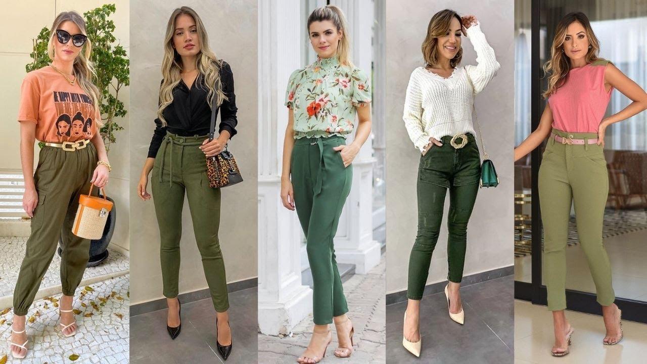 Outfits De Moda 2021 Usando Pantalones Verde Militar Tendencias En Pantalones 2021 Moda 2021 Mujer Youtube
