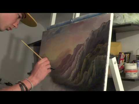 Oil painting Sunset Mountains