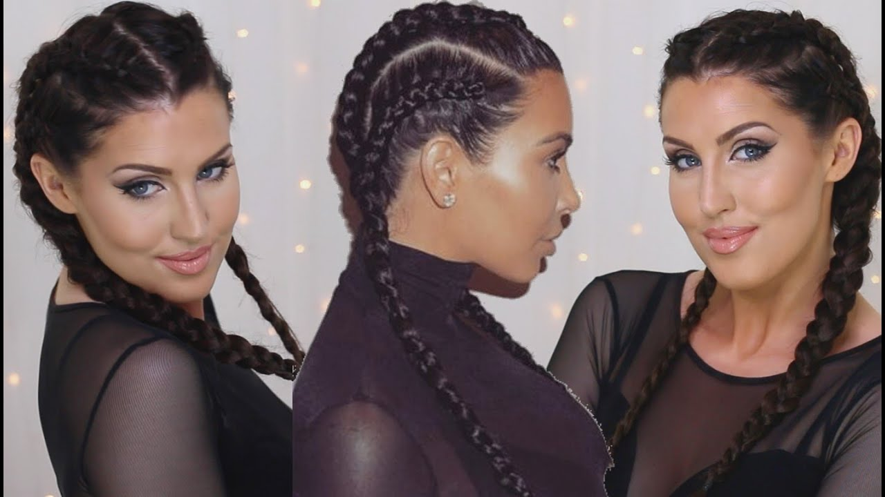 How To: Cornrows  Kim Kardashian Double Dutch Braids