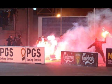 AEL Limassol - APOEL  11.12.17  Riots  //  Pyro-Greece