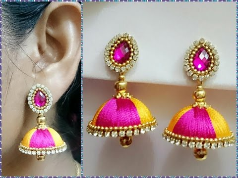 Simple and Beautiful Silk thread earrings || Available at  www.beautyinustores.com ||