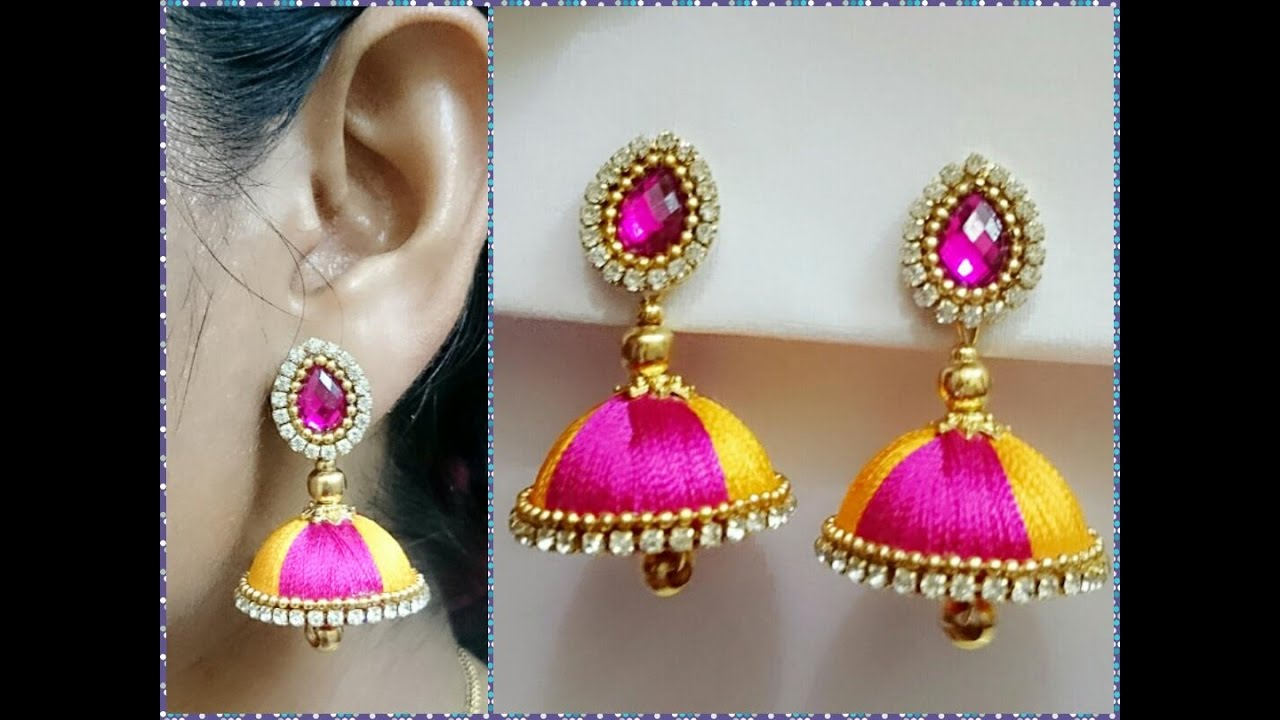 earrings wudbox product thread silk green jhumki buddha
