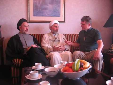 Mr Khatami (the former President of Iran) talks to Father Dave