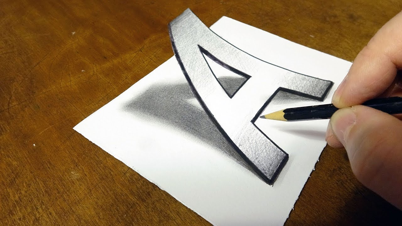 Very easy drawing 3d letter a trick art on paper with pencil by vamos