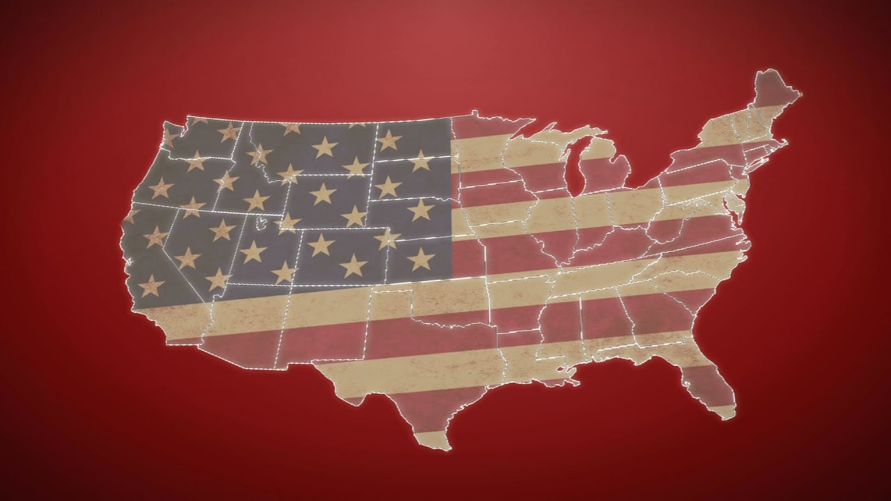 separated united states map with us flag  red background  stock footage