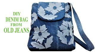 Awesome Long Strip Jeans Bag From Old Jeans | DIY Jeans Hand Bag | Old Cloth Reuse Ideas