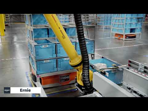 """""""Ernie"""" delivers totes to employees at an Amazon fulfillment center"""
