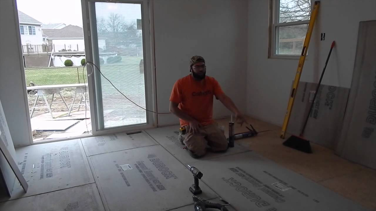 Installing cement board subfloor prepping for tile floor youtube installing cement board subfloor prepping for tile floor dailygadgetfo Images
