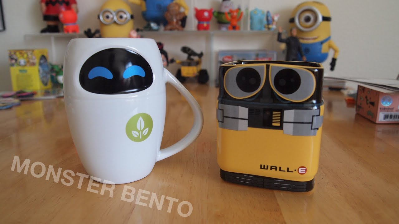 Disney store wall e eve ceramic mugs youtube - Walle and eve mugs ...