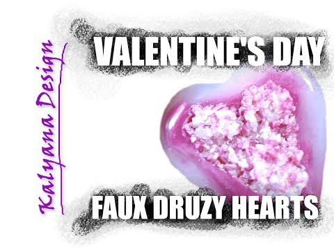 Faux druzy heart pendants for Valentine's Day - Pardo version -232 free polymer clay tutorial