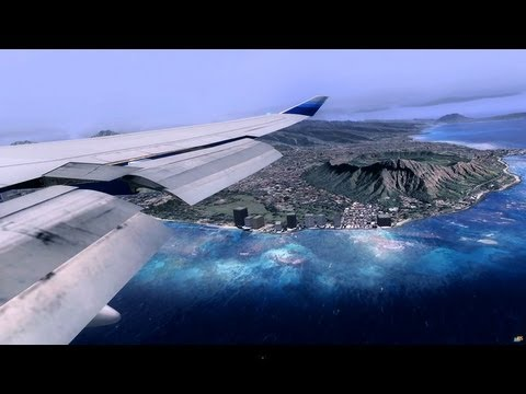 Flight Simulator X [HD] Honolulu Hawaii / DX10 / Boeing 747 400 United Airlines Landing