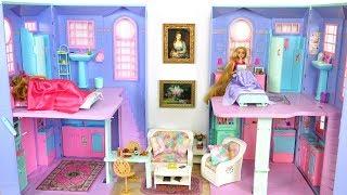 Barbie Rapunzel Casa de boneca Rotina matinal Café da manhã Vestido novo