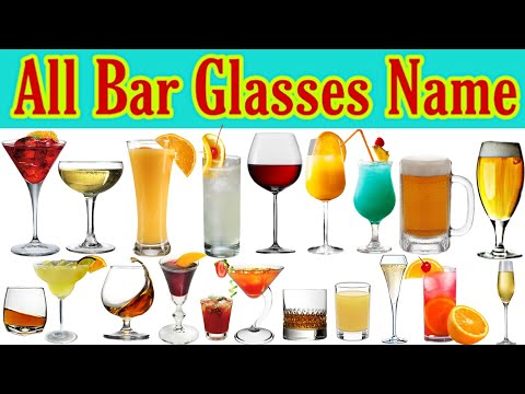 Types Of Bar Glasses & Goblets With Name, Capacity & Use || Bar Cocktails Mocktails Drinking Glass