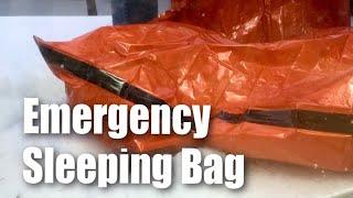 Emergency survival mylar sleeping bag winter test